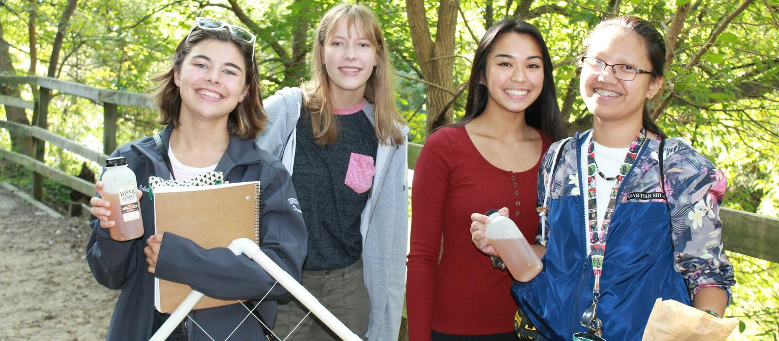 Students visit cider mill to complete their IB Science projects.